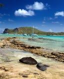 Mauritius. Catamarans dichtbij het eiland Gabriel royalty-vrije stock afbeelding