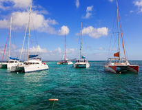 Mauritius. Catamarans near island Gabriel Stock Photo