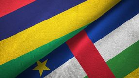 Mauritius and Central African Republic two flags textile fabric texture. Mauritius and Central African Republic flags together textile cloth, fabric texture royalty free stock photo