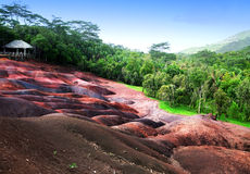 Mauritius- Chamarel- seven color lands. Royalty Free Stock Images