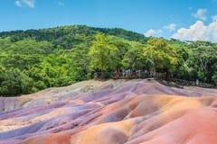 Mauritius färgade jordar arkivbilder