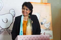 Mauritius' first woman President speaking at launching of Chinese comic strip San Mao exhibition Stock Image