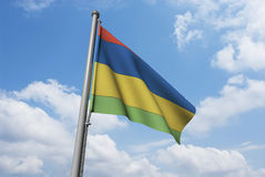 Mauritius Flag with Clouds Royalty Free Stock Photography