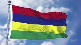 Mauritius Flag in een Blauwe Hemel Stock Fotografie