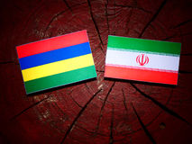 Mauritius flag with Iranian flag on a tree stump isolated. Mauritius flag with Iranian flag on a tree stump Stock Photo