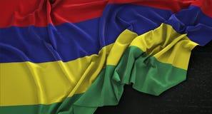 Mauritius Flag Wrinkled On Dark bakgrund 3D framför Royaltyfri Illustrationer