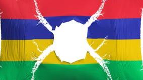 Mauritius flagga med ett hål royaltyfri illustrationer