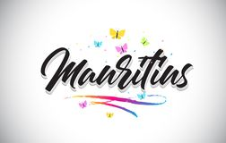 Mauritius Handwritten Vetora Word Text com borboletas e Swoosh colorido ilustração stock