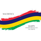 Mauritius Happy Independence Day, 12 march greeting card with brush stroke in national colors. Stock Photo