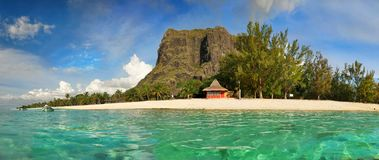 Mauritius Island, Le Morne Beach, Luxury Vacation Resort. Le Morne beach and luxury vacation resort, panoramic view. Mauritius Island, Indian Ocean stock image