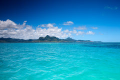 Mauritius landscape. Beautiful landscape of eastern Mauritius from ocean stock image