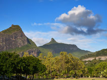 Mauritius, landscape of the island against the cloudy sky Stock Photo