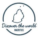 Mauritius Map Outline El vintage descubre el mundo Stock de ilustración