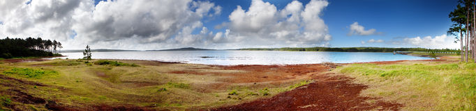 Mauritius.Mare-aux-Vacoas-panorama. Mare-aux-Vacoas-panorama the largest water reservoir of Mauritius royalty free stock photo