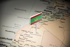 Mauritania marked with a flag on the map. Mauritius marked with a flag on the map royalty free stock image