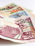 Mauritius money. Close up of different bank notes from mauritius Royalty Free Stock Photos