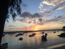 Mauritius morze i łódź jard obrazy royalty free