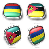 Mauritius and Mozambique 3d metallic square flag button Stock Photography