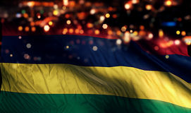 Mauritius National Flag Light Night Bokeh abstrakt begreppbakgrund Royaltyfri Foto