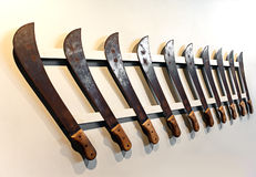 Mauritius. Old machetes for the cabin of a sugar cane Royalty Free Stock Photo