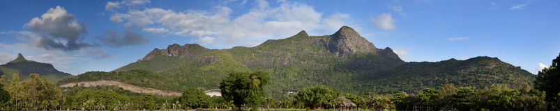 Mauritius, panoramic view of mountains in a sunny day Stock Photos
