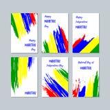 Mauritius Patriotic Cards para o dia nacional ilustração do vetor