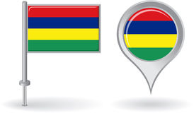 Mauritius pin icon and map pointer flag. Vector Royalty Free Stock Photography