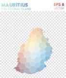 Mauritius polygonal översikt, mosaikstilö vektor illustrationer