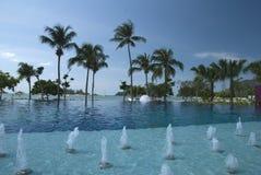 Mauritius pool and beach stock photo