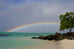 Mauritius Rainbow island. Ocean sky Royalty Free Stock Images