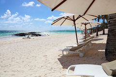 Mauritius resort beach with umbrellas and chairs Stock Photography