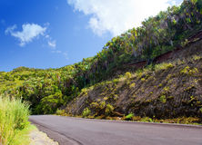 Mauritius. The road in mountains in a sunny day Stock Photos