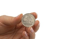 Mauritius Rupees. Coin hold of female fingers Stock Photography