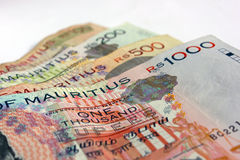 Mauritius Rupees Notes. Mauritian money 1000, 500, 200 and 100 rupees notes Stock Image
