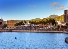 Mauritius.Sea热带风景的路易港首都在一个晴天 免版税库存照片