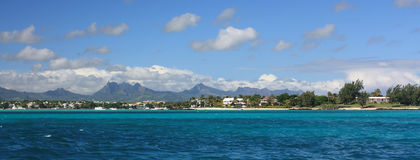 Mauritius shoreline panorama. Seascape showing Mauritius shoreline with beach Stock Photos