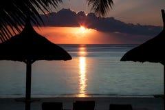 mauritius solnedgång Arkivbild