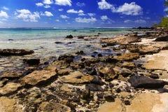 Mauritius. Steenachtig landschap van het eiland Gabriel. royalty-vrije stock afbeeldingen
