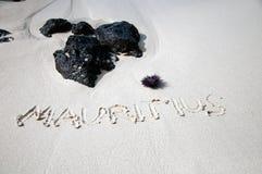 Mauritius - tittle at sandy beach. Mauritius written on white sandy beach Stock Photos