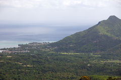Mauritius. View of mountains and Indian Ocean.Mountain landscape Royalty Free Stock Photo
