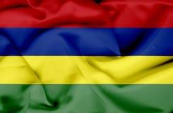 Mauritius vinkande flagga stock illustrationer
