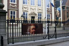 Museum sign and self portrait of Rembrandt at the Mauritshuis,The Hague, Netherlands  Stock Images