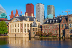 Mauritshuis at the Hofvijver in The Hague, Netherlands. With the city skyline in the background stock photo