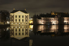 Mauritshuis at the hofvijver. In the Hague right in the picture you see the binnenhof where politics of Netherlands is working stock images