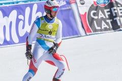 MAURO CAVIEZEL AIE participa na corrida para a raça SUPER de G o MENÂ dos FINAIS do MUNDO do ESQUI do FIS Ski World Cup Finals al fotos de stock royalty free