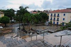 Mauro Machado Plaza Sao Luis do Maranhao. The colorful housing and the Poet Mauro Machado plaza in downtown Sao Luis do Maranhao, North of Brazil Stock Photography