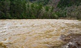 Maury River en la etapa de la inundación en el paso de Goshen Imágenes de archivo libres de regalías