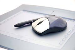 Maus auf grafischer Tablette Lizenzfreies Stockfoto