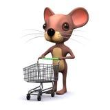 Maus 3d hat einen leeren Warenkorb Stockfotografie