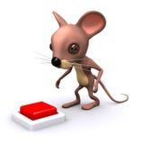Maus 3d möchte den Knopf drücken Lizenzfreie Stockfotos